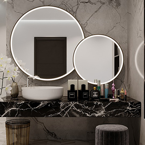 Beautiful round mirrors above the sink, ready to add elegance and function to your home.