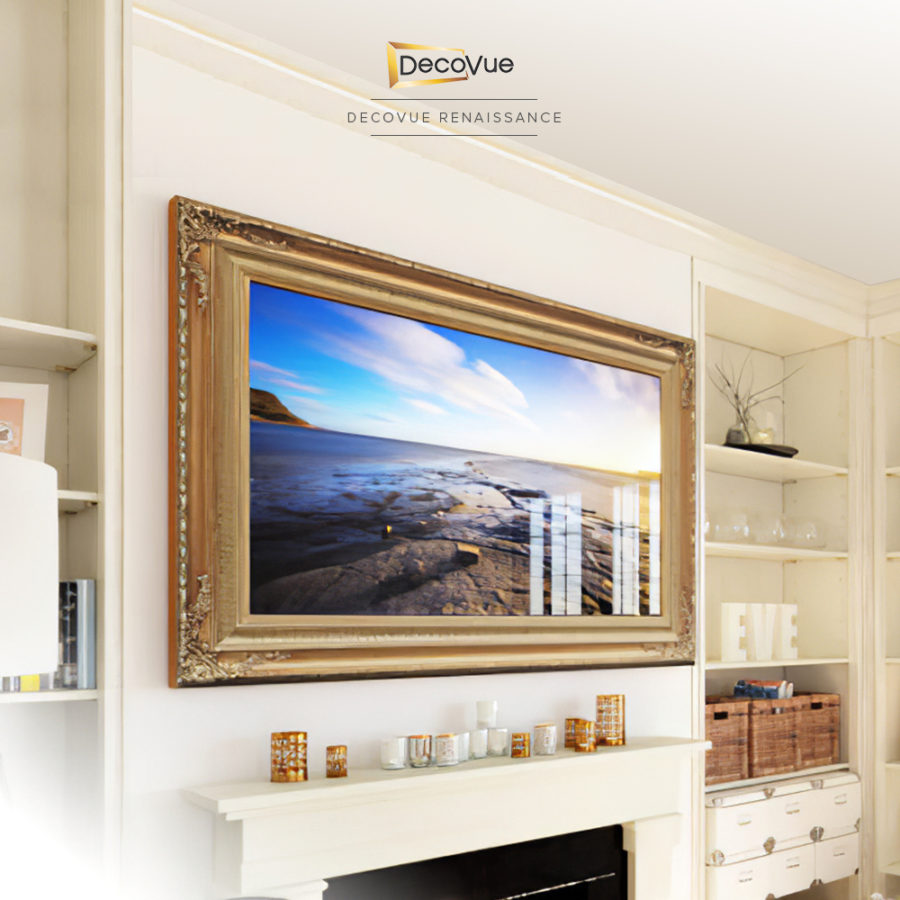 Decorative frame with intricate designs in gold and more designs for your smart mirror TV.