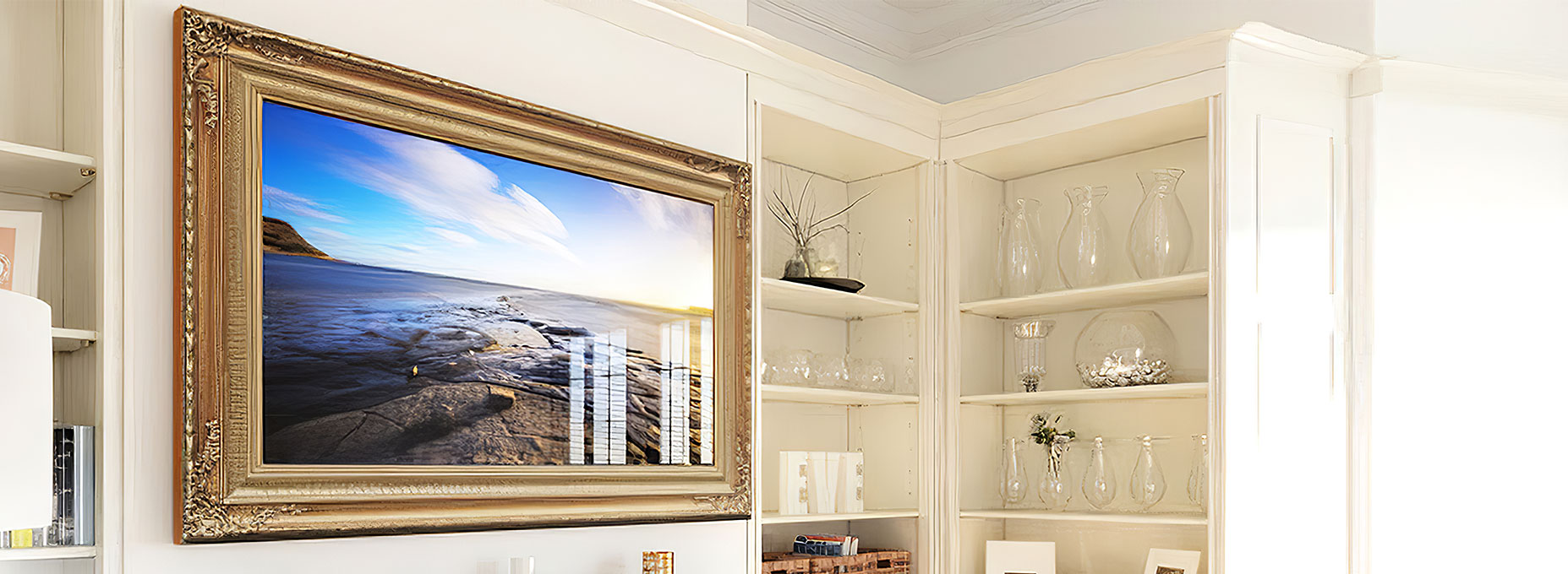 Decorative framed TV fit for a traditional interior design.