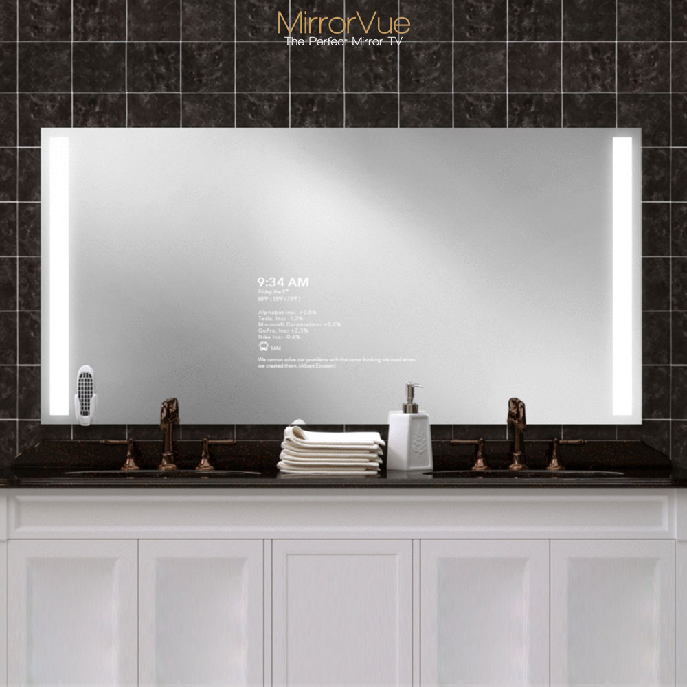 Double sink mirror TV with integrated lights.
