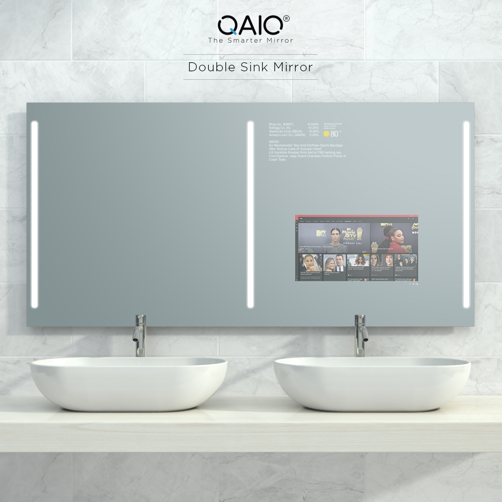 This double sink mirror TV is powered with the latest Android and equipped with integrated lights.