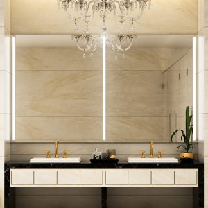 Elegant bathroom mirrors with integrated lights.