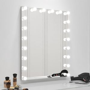 Hollywood makeup mirror with extra thin mirror and touchscreen capability.