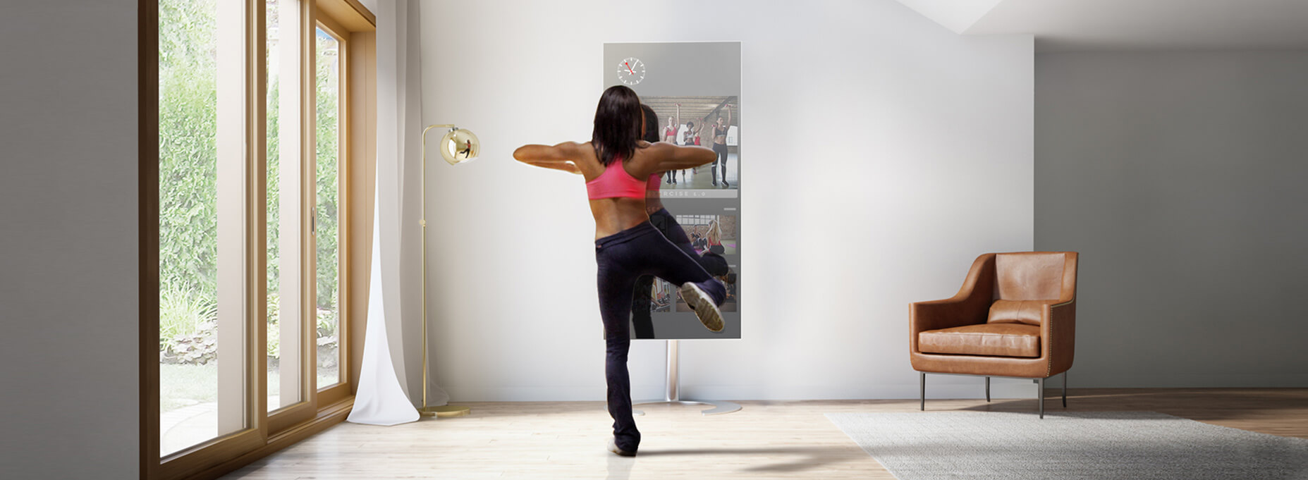 Home workout mirror TV helps achieve your body goals in a move convenient way.