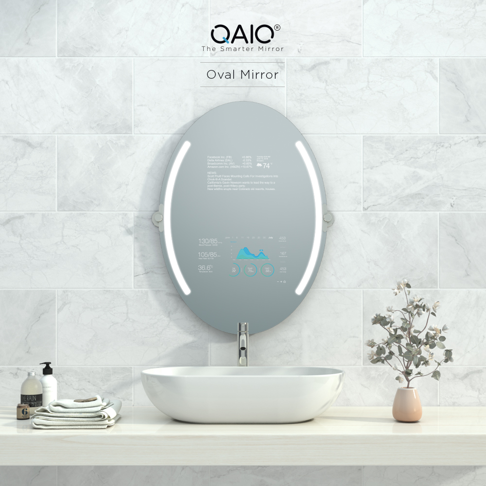 Oval sink mirror TV with built-in high definition speakers and 4k ultra HD resolution.