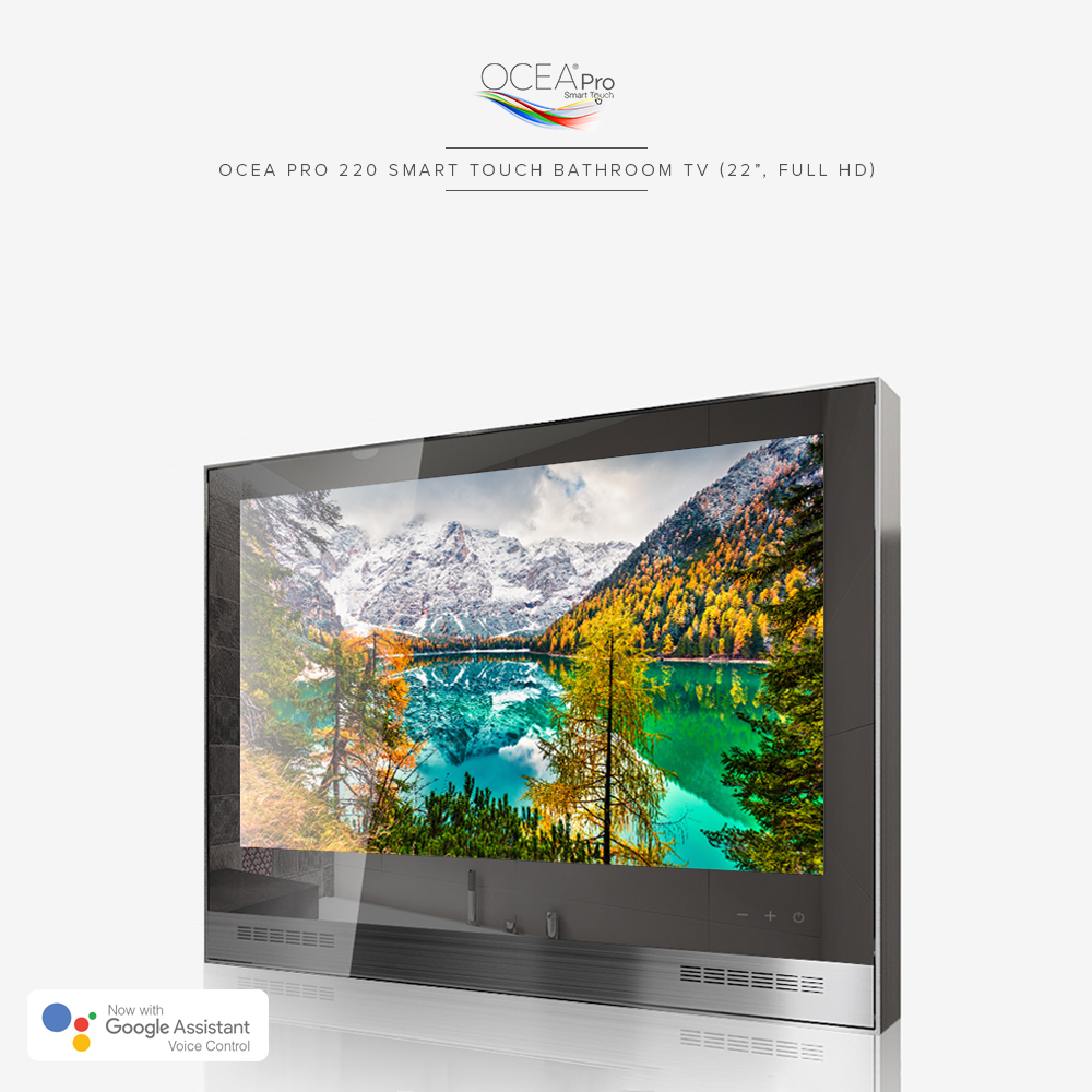 Shower or sauna smart bathroom TV equipped with full touchscreen.