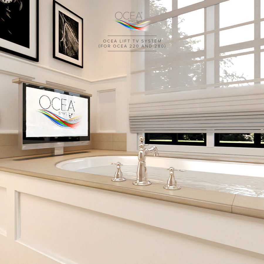 A smart bathroom TV with its lift system installed in a bathtub.