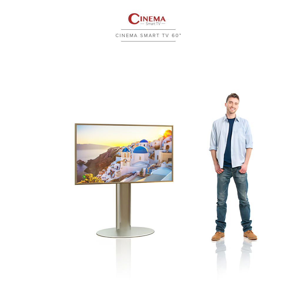 A smart cinema TV with solidly built single pole floor stand.
