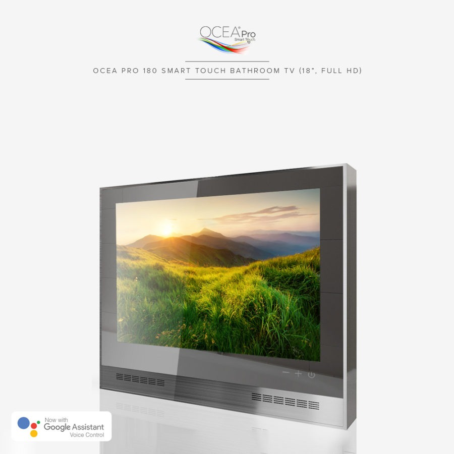 Smart touch bathroom TV equipped with Google Assistant voice control.