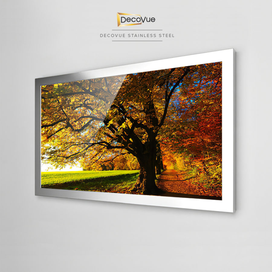 Stainless steel framed smart mirror TV looks flawless and beautiful.