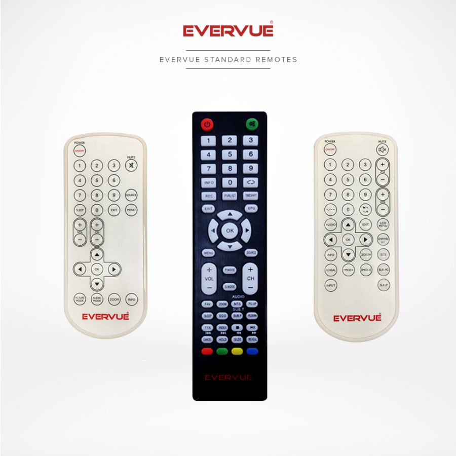 Three standard remote controls with all the needed buttons to control your TV.