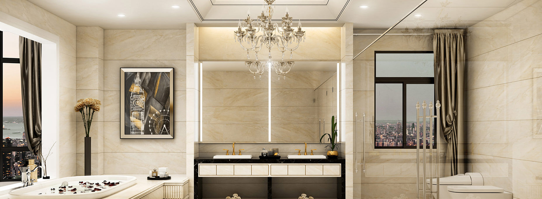 Traditional bathroom with sophisticated lighted mirrors in the center.