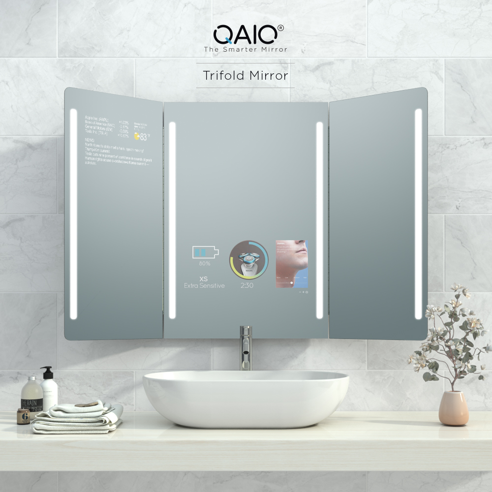 Trifold smart mirror with hidden TV and other smart functions you will surely enjoy.