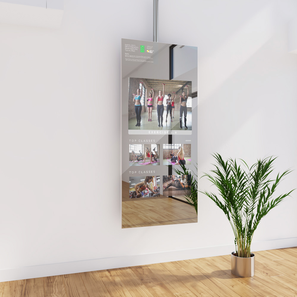 For a new and unique look, this ceiling mounted fitness mirror TV can be incorporated in your home.